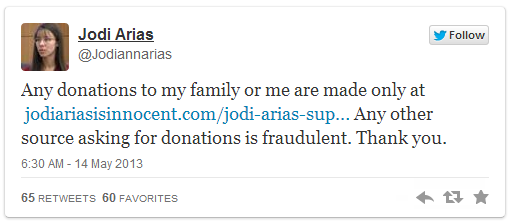 Jodi Arias twitter account message 5-14