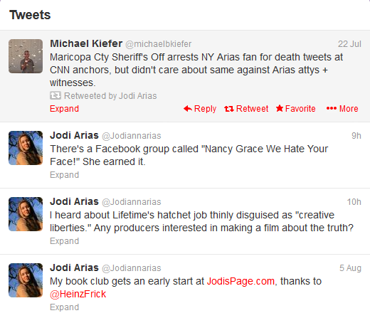 Jodi Arias latest twitter messages, 8-6-2013