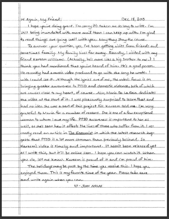jodi arias 1-5-2016 letter