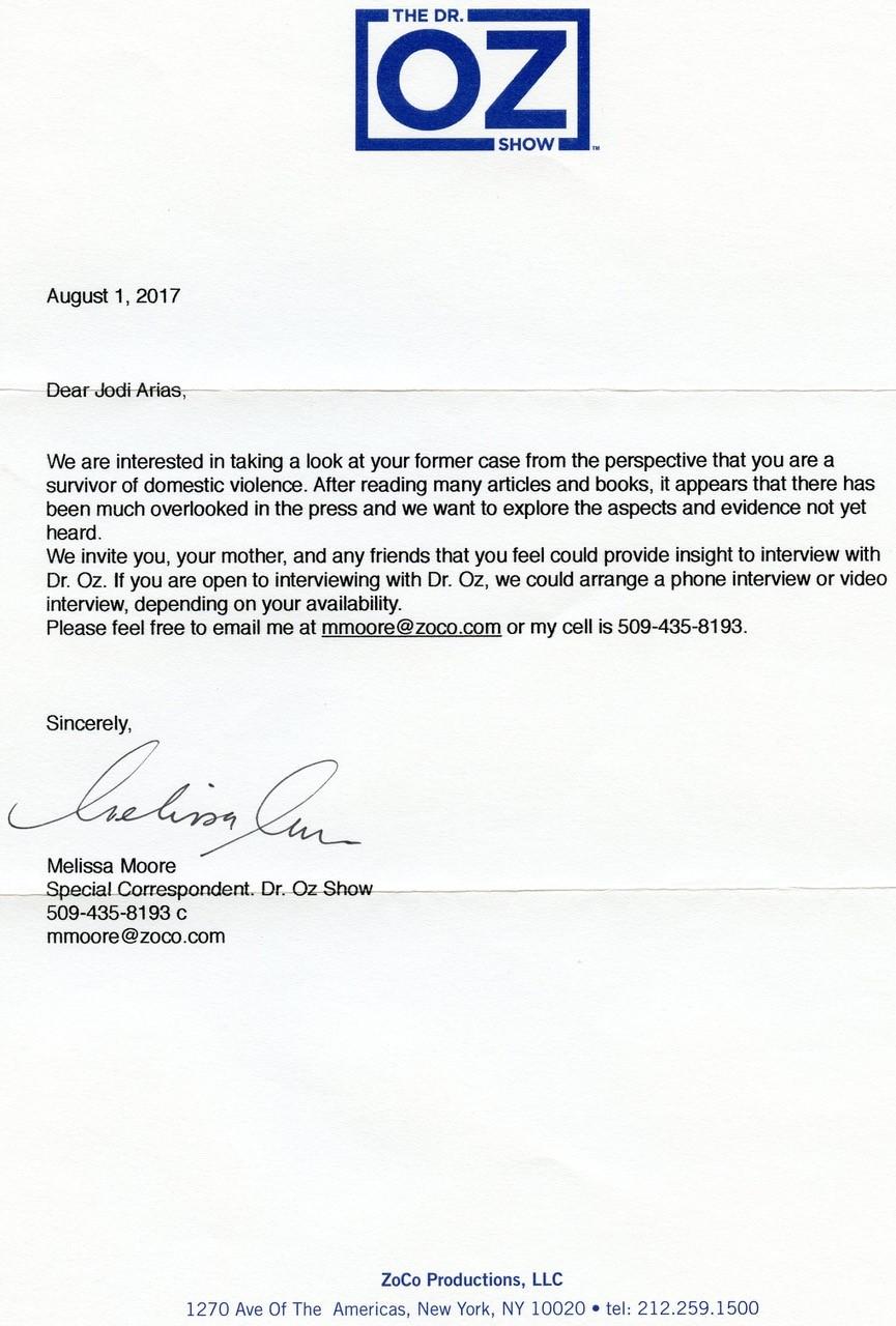 dr oz letter to jodi arias